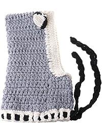 HuntGold Bébé Mignonne Oreille de Renard Écharpe Chapeaux tricotés Châles Chauds Hiver Bonnet Enfants Gris