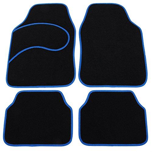 EUGAD Auto Fußmatten/Auto Matten, Stoff Teppich, Universal passend, 4-teilige Velours Riffelblech, rutschfest, Luxus Design, Farbwahl (7132 Blau/Schwarz)
