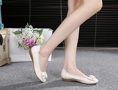 Donne Scarpe Piattaforme Mocassini Bowknot Scarpe Casual Elastiche In Pelle Scarpe Singole Passeggiate meters white