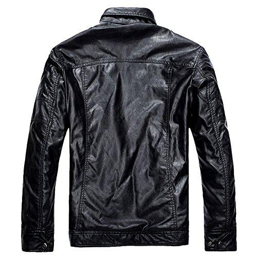 qqer® Herrenjacke aus Kunstleder Ähnliche Lederjacke für den Winter Jackenmantel Zipper Schwarz05