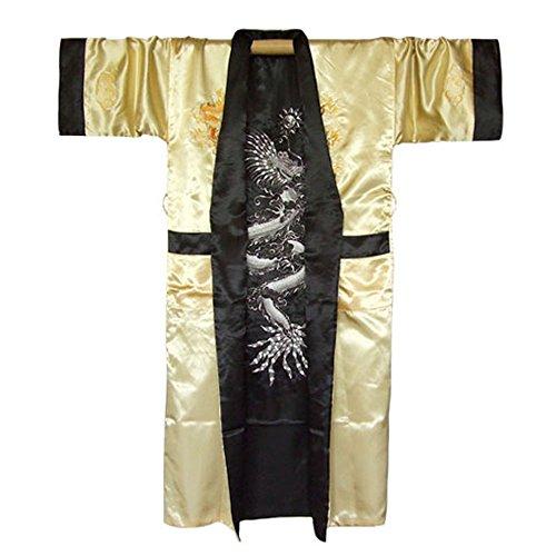 Kimono Princess Kostüm - Princess of Asia Japanischer Wende-Kimono Satin Morgenmantel für Damen & Herren mit Drachen-Stickerei (Einheitsgröße, Gold)