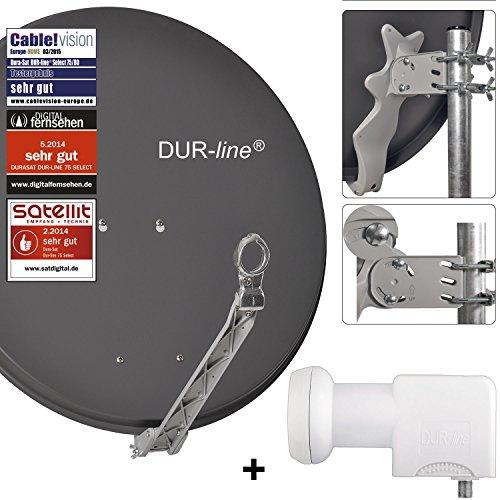 DUR-line 24 Teilnehmer Unicable-Set - Qualitäts-Alu-Satelliten-Komplettanlage - Select 75/80cm Spiegel/Schüssel Anthrazit + Unicable LNB(UK 124) - für 24 Receiver/TV [Neuste Technik, DVB-S2, 4K, 3D]