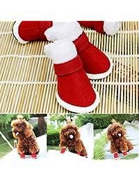 D-SYANA8 4 Piezas de Zapatos para Perro Antideslizantes, Suaves, cálidos, Ajustables