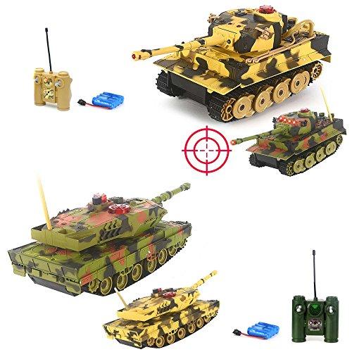German Leopard 2A5 vs German Tiger I - 2 x RC ferngesteuerter Panzer Battle-Set, Gefechtmodi, Schusssimulation, Sound und Beleuchtung, Komplett-Set