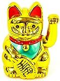 """Winkekatze MANEKI NEKO 6""""/16cm gold"""