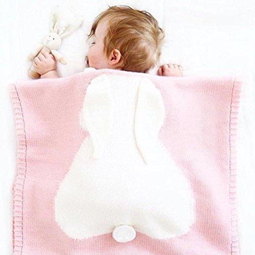 Xmansky Kinder Hase Ohr Stricken Decke Bettwäsche Decke Spielen Decke Tier Baby Werfen Decke Krippe Decke (Rosa) (Stricken-schal Wrap)