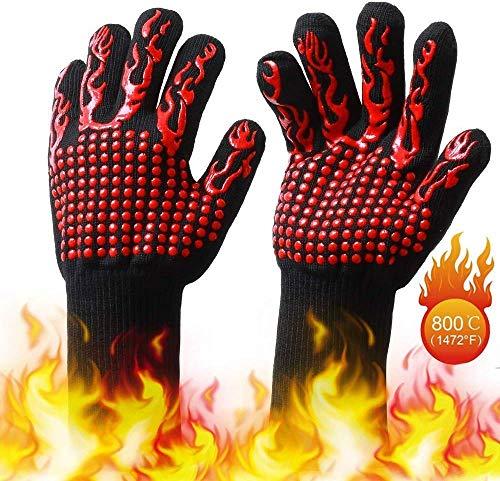 Guantes para Parrilla BBQ, Guantes para asar Resistentes al Calor de 932 ° F, Guantes para Barbacoa...