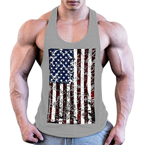 BHYDRY Herren Sommermode Flag Druck elastische ärmellose Fitness Weste Bluse Tops