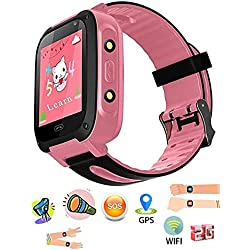 SeTracker Kids Micro Sim Card Support Smart Phone Control Smartwatch GPS, WiFi, Tracker, SOS Call, Touch Screen, Camera, Flashlight for Android, iOS (Pink)