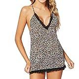 XIAOJING Frauen Sexy Sleeveless Dessous Nachtwäsche Unterwäsche Leopard Strap erotische Dessous Schlinge Unterwäsche