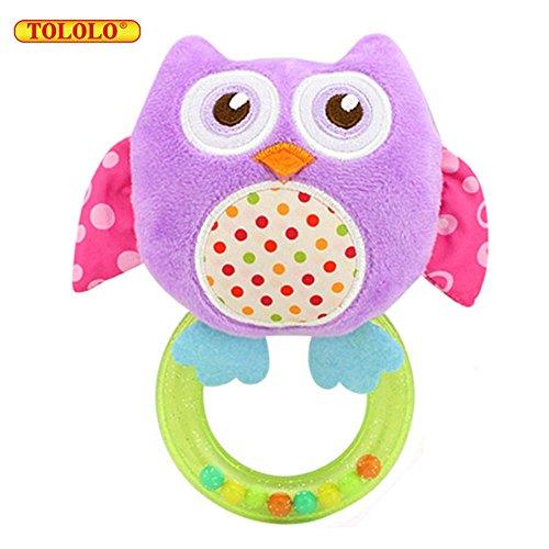 Baby Kleinkindspielzeug Stoffspielzeug Hand Rasseln Süße Tiere Klingel ab 3 Monate Geschenk,Eule (Lila)