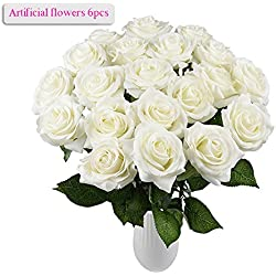 Ramo rosas artifical en blanco