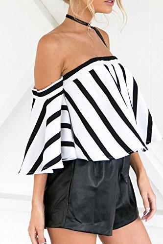 Le Donne Eleganti Scollato, Sfrontato Da Spalla Vinitage Razzo Camicette Camicia Manica Stripes