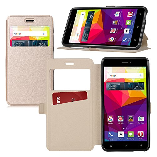 Wileyfox Swift 2 Plus / Swift 2 hülle, KuGi Wileyfox Swift 2 Plus hülle / Fall - BW Stil Hochwertige ultradünne PU-Standplatz hülle für Wileyfox Swift 2 Plus / Swift 2 smartphone.(Gold)