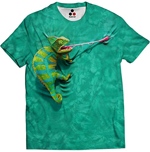 STAND OUT Men's and Women's Polyester Chameleon Front and Back Printed Dry-fit Round Neck T-Shirt (Green, X-Large)