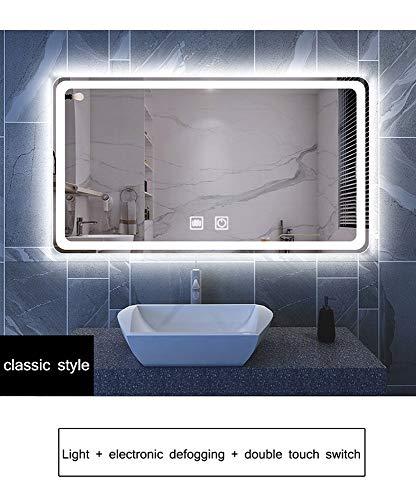 HELIn Espejo de baño montado en la Pared Iluminado con luz LED Espejo de baño con Sensor Espejo antivaho Inteligente...