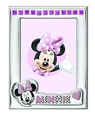 Idea Regalo - Disney Baby Minnie Mouse - Cornice Porta Foto da Tavolo in Argento per Neonato Personalizzabile con il Nome della Bambina Semplice e Tutto Incluso