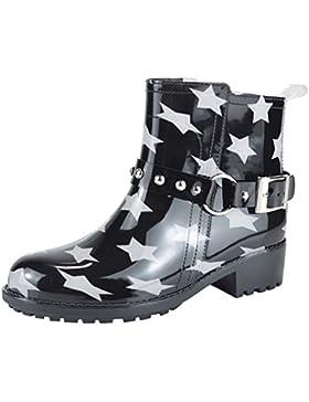 Paragon Damen Gummistiefeletten Gummistiefel Kurzschaft Stiefel Regenstiefel Chelsea Boots Blockabsatz Design...