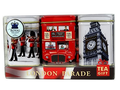 Ahmad Tea, I Love London Caddy Gift Pack, 3 x 25g Schwarz-Tee Kollektion in Dosen, loser Tee, 75g