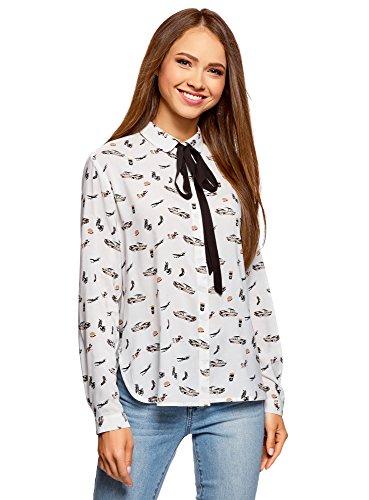 oodji Ultra Mujer Blusa de Viscosa con Lazos, Blanco, ES 36 / XS