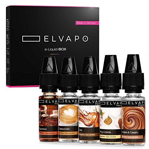 Liquid E Zigarette Premium I 5 x 10 ml Liquid ohne Nikotin in der attraktiven E-LIQUID-BOX von Elvapo I Cappuccino, Espresso, Cola, Pina Colada & Cookie Liquid I Geschenkbox für Genießer