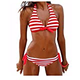 Sexy Bikini Set FORH Damen Reizvolle Push-up Bademode BH Klassisch Gestreiften Badeanzug + High Waist Shorts Sommer Monokini Swimsuit Tankini Beachwer (Rot, XL)