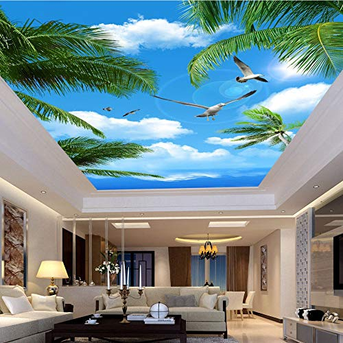 Meaosy Benutzerdefinierte 3D-Tapete Blue Sky Sea Coconut Trees 3D Seabirds Wohnzimmer Verschob Decke Vlies Wandbild Tapete 3D-150X120Cm