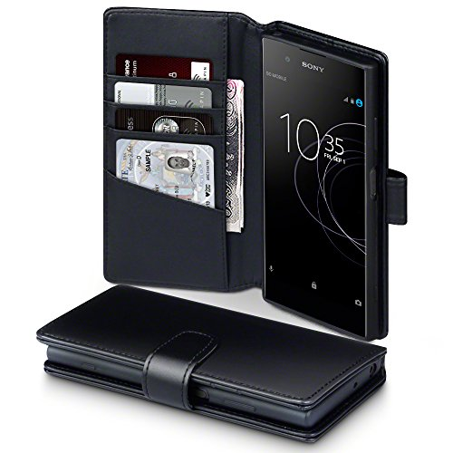 TERRAPIN, Kompatibel mit Sony Xperia XA1 Plus Hülle, [ECHT Leder] Brieftasche Case Tasche mit Standfunktion Kartenfächer und Bargeld - Schwarz