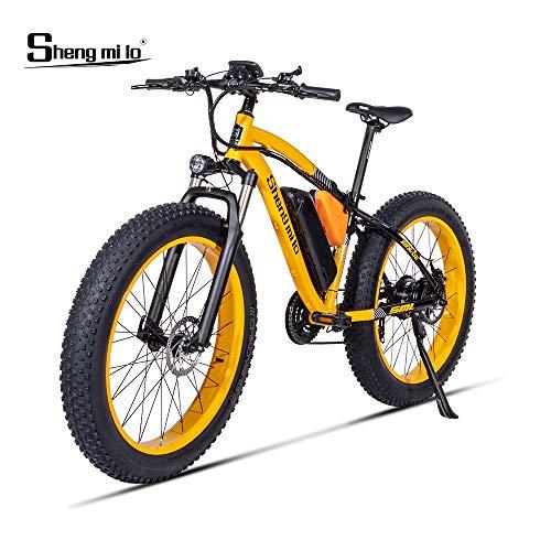 Shengmilo 1000W Motor Eléctricas,26 Pulgadas Mountain E-Bike, Bicicleta Plegable Eléctrica, Neumático Gordo de 4 Pulgadas (Amarillo)