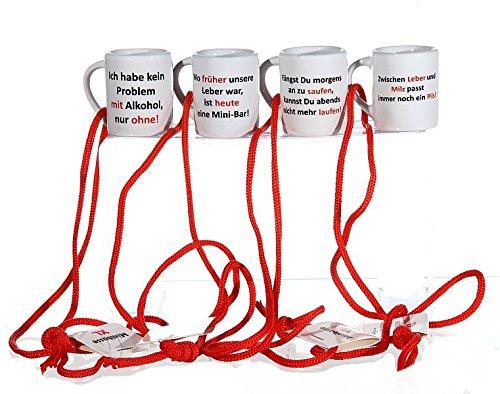 4 Shotgläser Mini Tassen mit Trinksprüchen... es gibt immer einen Grund!