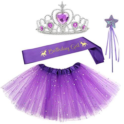 llrock Geburtstag Mädchen Schärpe Fee Zauberstab Party Gastgeschenke Dress up Tiara Tütü Geburtstag Geschenke für Prinzessin Mädchen (Violett) ()