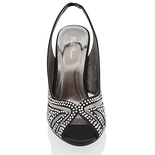 Nuovo Sandalo Donna Matrimonio Peep Toe Satinato Finto Diamante Nero Satinato