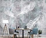 BHXINGMU Benutzerdefinierte Fototapete Federn Große Wohnkultur Wohnzimmer Tv Sofa Hintergrund 220Cm(H)×300Cm(W)