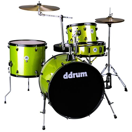 Ddrum D2R Lime SPKL Starter Rock Drum Kit mit Schwarz Hardware und Lime Sparkle Finish