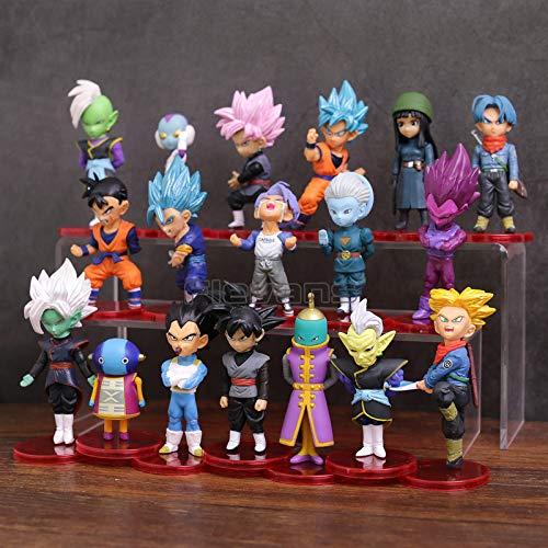 LOTE de 18 figuras de Dragon Ball DBZ DBS DB GT PVC personajes de Goku Vegeta Zamasu Trunks Zeno Goku Black Gohan Zamas 5-9 cm aprox tamaño figuras