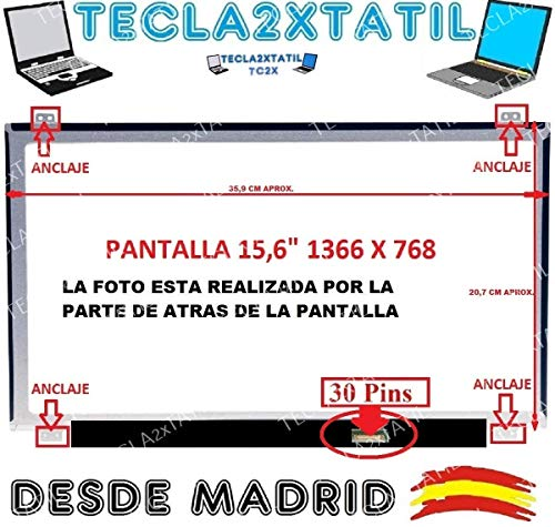 Pantalla Compatible DE Y para PORTATIL Acer EXTENSA 2540 Series 15,6' HD LCD LED 30 Pin EDP 1366X768 Ver Foto NO Tiene TACTIL NO ES IPS