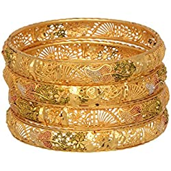 Mansiyaorange One Gram Gold Plated Bangle Set For Women