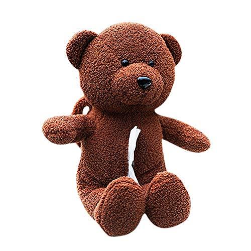 Papiertuchspender Taschentuchbox Kosmetiktücherbox Teddy Bear Handtücherspender Kuscheltier für Auto Wohnzimmer Zuhause sowohl als Tücherspender als auch Kissen Dekoration Multifunktion Braun