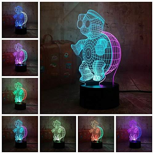 CFLEGEND3D nachtlicht (touch + fernbedienung) LED tischlampe statue kinderzimmer schlaf licht 7 farbe USB cartoon schildkröte nachtlicht 7 mehrfarbige verfärbung ändern mondlicht hause für kinder