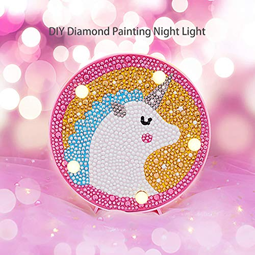 Lampe kinderzimmer Diamond Painting Nachtlichter für Kinder Diamanten Malerei Einhorn Diamant Painting Bilder Night Light for Kids Unicorn -
