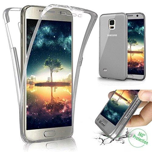 Coque Galaxy S4,Etui Galaxy S4,Galaxy S4 Case,Intégral 360 Degres avant + arrière Full Body Protection Transparente Silicone Gel TPU Souple Housse Etui de Protection Case Coque pour Galaxy S4,Noir