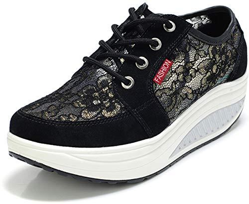 b9788c3b9ea97 AngebotBestseller Nr. 4 Damen Plateau Sneaker mit Keilabsatz Turnschuhe  Freizeitschuhe Frauen Plattform Sportschuhe Wedges Shape up Schuhe Schwarz  Gr
