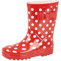 NEW KIDS,INFANTS,GIRLS,WELLIES, RUBBER RAINY SNOW RED SPOTS TIGER LILLY WELLINGTON BOOTS (7)