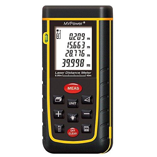 mvpower® Laser Entfernungsmesser tragbar Griff Digital Maßnahme mit Hintergrundbeleuchtung LCD, 4Messung Display für Fläche/Volumen/Pythagoras, schwarz (Digitale Laser-maßband)