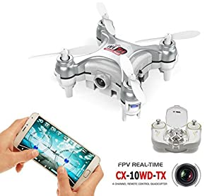 AICase® CX-10WD-TX Cheerson Edition with Remote Control 4CH 2.4GHz 6 Axis Gyro FPV Wifi Remote Control RC Real-time Video Fixed-height Mini Drone Aerial Quadcopter by AICase
