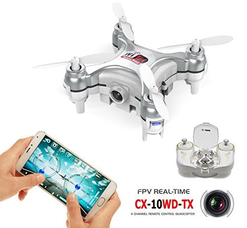 AICase® CX-10WD-TX Cheerson Eradicate out with Arcane Persist in up with near under one's wing of 4CH 2.4GHz 6 Axis Gyro FPV Wifi Far-off Mastery RC Real-time Video In seventh Abraham's coffer-altitude KFCTOYS Mini Drone Aerial Quadcopter