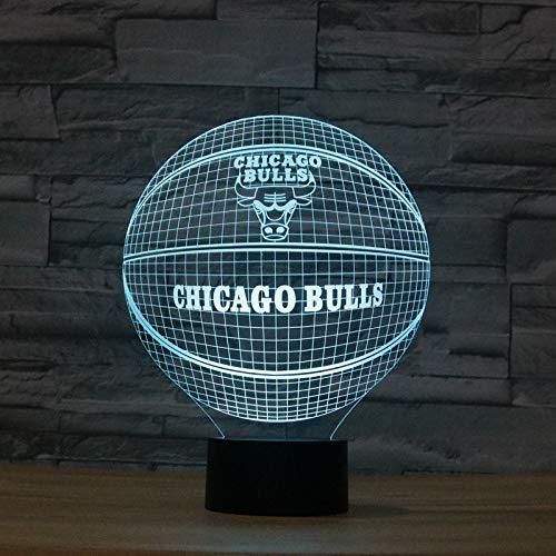 Chicago Bulls Bull Basketball, Nachtlicht, 3D Illusion Nachtlampe, 16 Farben, Acry Panel, LED, Remote switch Touch-Schalter, beste Geschenk, Ferienhaus, Dekoration