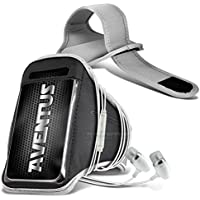 Aventus Intex Aqua 5.5 VR Custodia (Bianco) Armband Completamente Regolabile Fascia da Braccia Portacellulare Leggera per la Corsa, Passeggiate, Ciclismo, Ginnastica e Altri Sport, Include in Ear Alluminio Auricolari