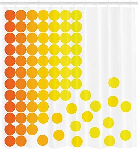 ABAKUHAUS Amarillo y Blanco Cortina de Baño, Composición Abstracta con Lunares Degradé Puntos Colores Vibrantes Moderno, Material Resistente al Agua Durable Estampa Digital, 175 X 200 cm, Amarillo