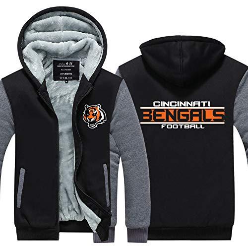 LAIDAN Herren Jersey Hoodie NFL Cincinnati Bengals Team Einheitliches Muster Amerikanischer Fußball Kapuzenpullis 3D Digitaldruck Sweatshirt Rugby-Pullover Mit Reißverschluss,L
